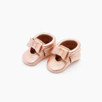 Newborn Rose Gold Ballet Flat Bow Mocc