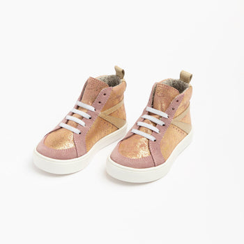 Rose Gold Metallic High Top Sneaker