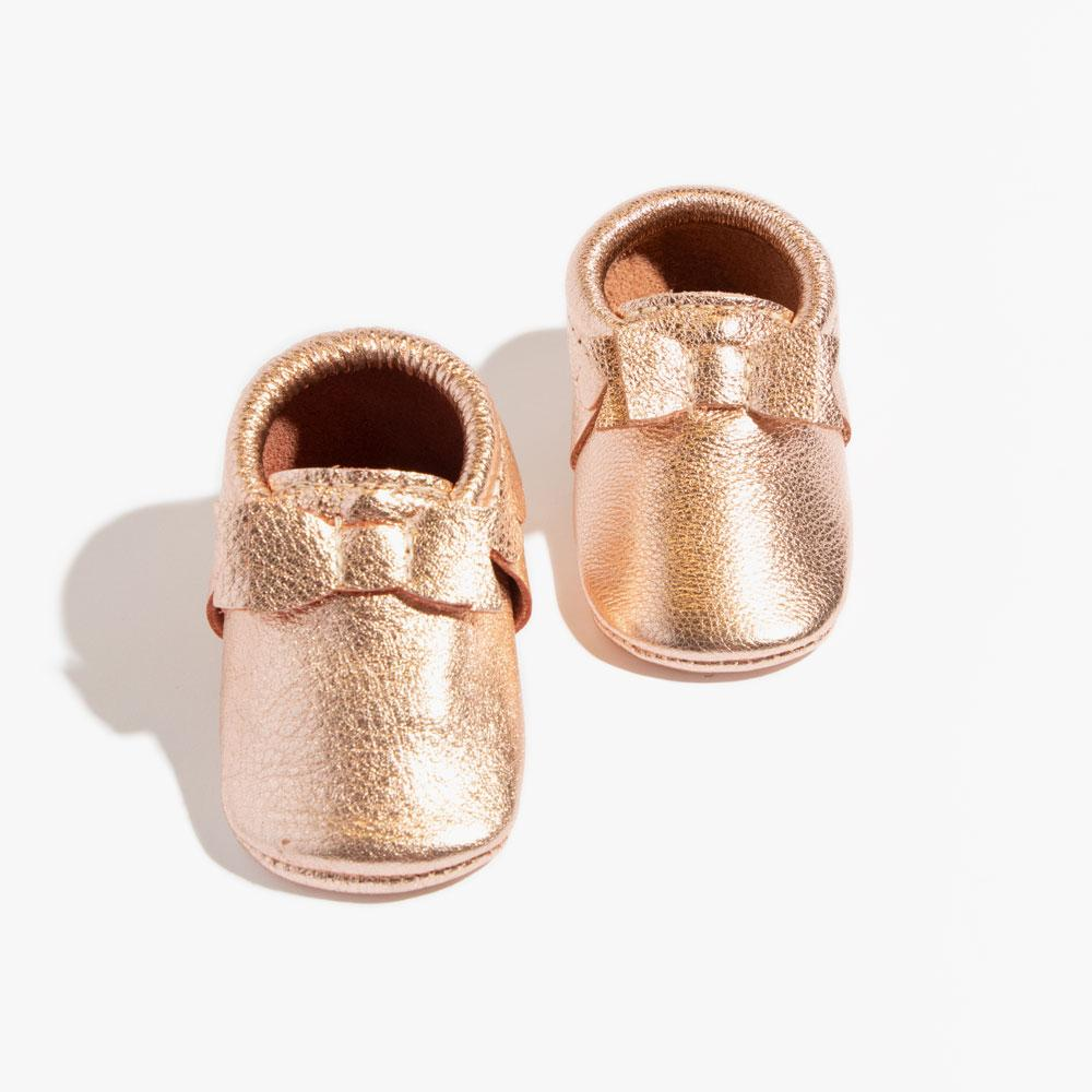 Rose Gold Bow Mocc Bow Moccasins Soft Soles