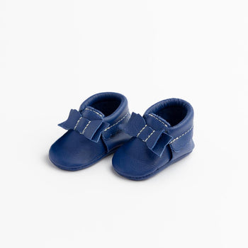 Newborn Royal Blue Bow Mocc