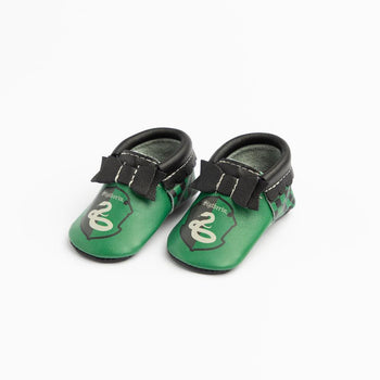 Slytherin Bow Mocc Bow Moccasins Soft Soles