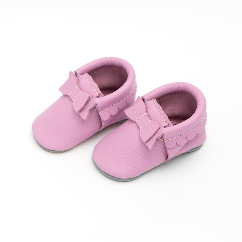 Spring Orchid Bow Mocc Bow Moccasins Soft Soles