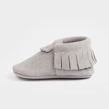 Stone Suede Moccasins Soft Soles