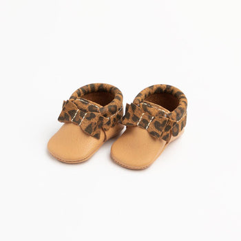 Newborn Toasted Almond with Leopard Bow Mocc Newborn Bow Mocc Soft Soles