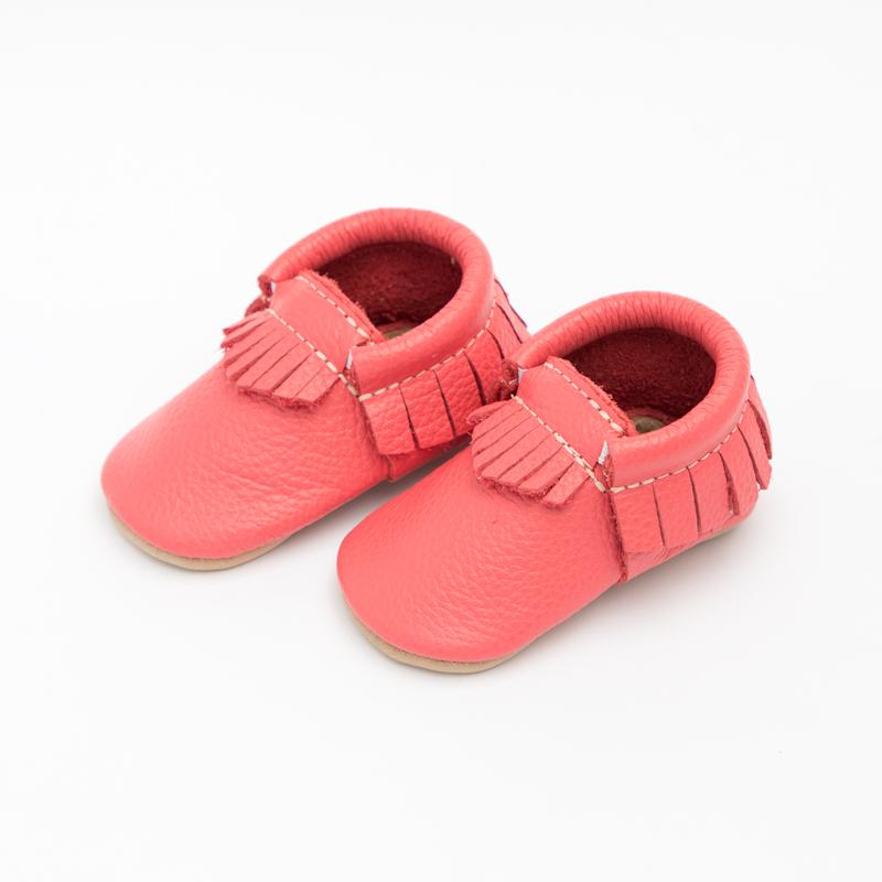 Washed Red Moccasins Soft Soles