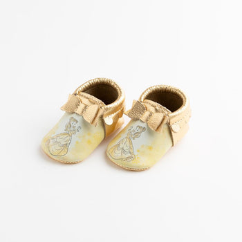 Watercolor Belle Bow Mocc Bow Moccasins Soft Soles