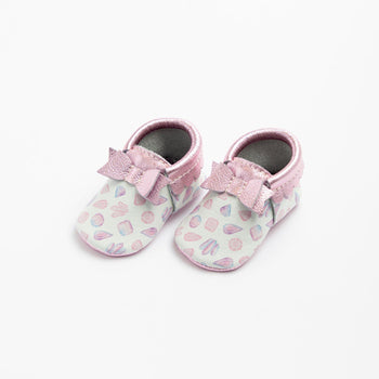 Watercolor Crystals Bow Mocc Bow Moccasins Soft Soles