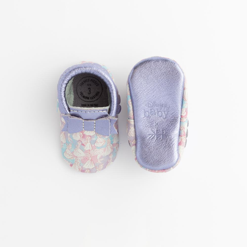 Watercolor Princesses Bow Mocc Bow Moccasins Soft Soles