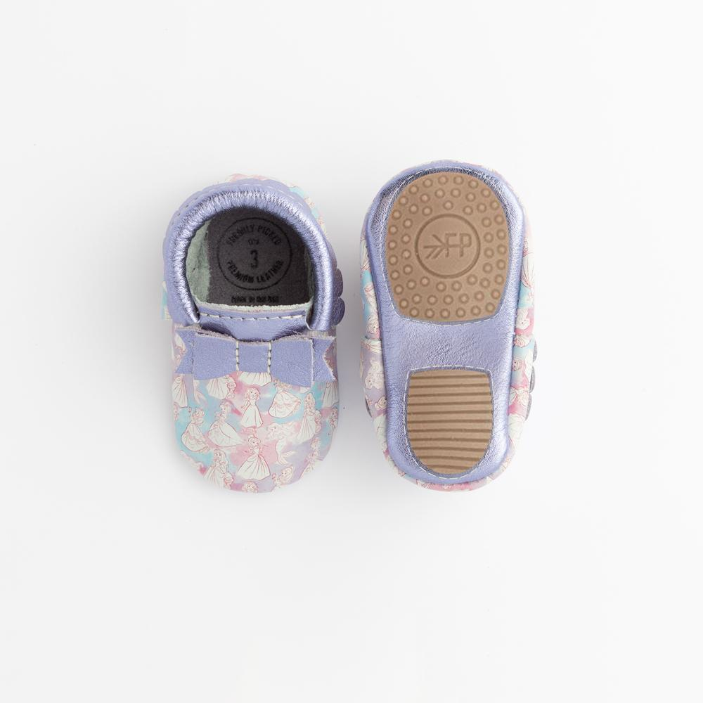 Watercolor Princesses Bow Mocc Mini Soles Mini Sole Bow Moccasin mini soles