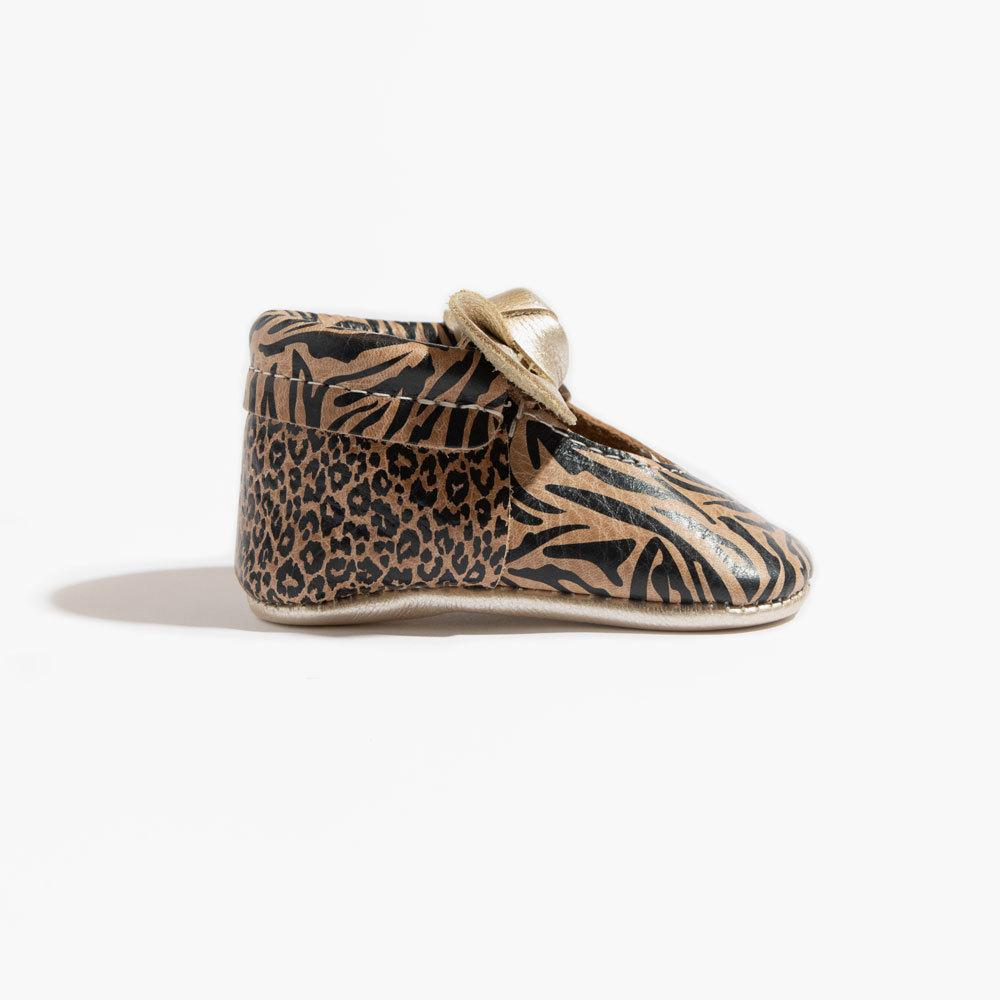 Weathered Brown Zebra Knotted Bow Mocc knotted bow mocc Soft Soles
