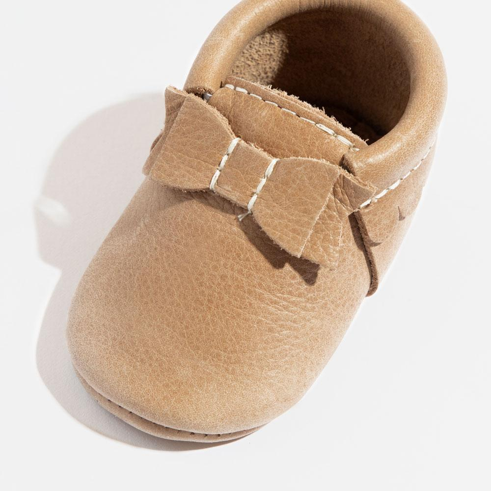 Weathered Brown Bow Mocc Bow Moccasins Soft Soles