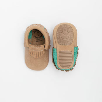 Weathered Brown with Woven Teal Mini Sole Mini Sole Mocc mini soles