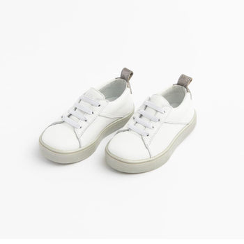 White with Pearlized Gray Classic Sneaker