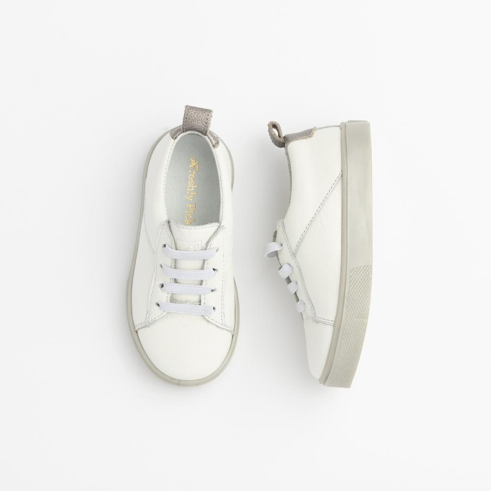 White with Pearlized Gray Classic Sneaker Kids - Classic Sneaker Kids Sneakers