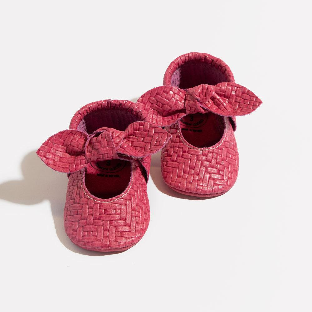 Woven Raspberry Knotted Bow Mocc Mini Sole mini sole knotted bow mocc mini sole