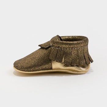 Glitzy Gold Moccasins Soft Soles