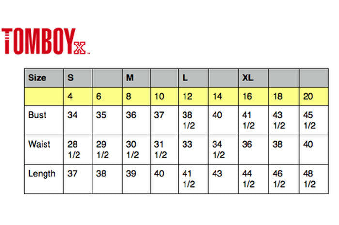 Sizing Chart for TomboyX Classic, Polos and Blazer