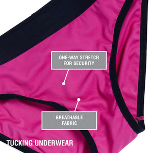 TomboyX Tucking Underwear - Hot Pink. One way stretch for security. Breathable fabric.