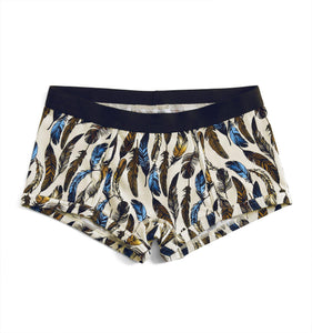 Boy Shorts - Feathers Print-Underwear-TomboyX