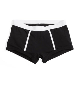 Boy Shorts LC - Active Drirelease® Black With White Trim-Underwear-TomboyX