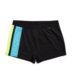 Exclusive: Swim Boy Shorts - Black with Island Blue & Neon Yellow-Swim-TomboyX