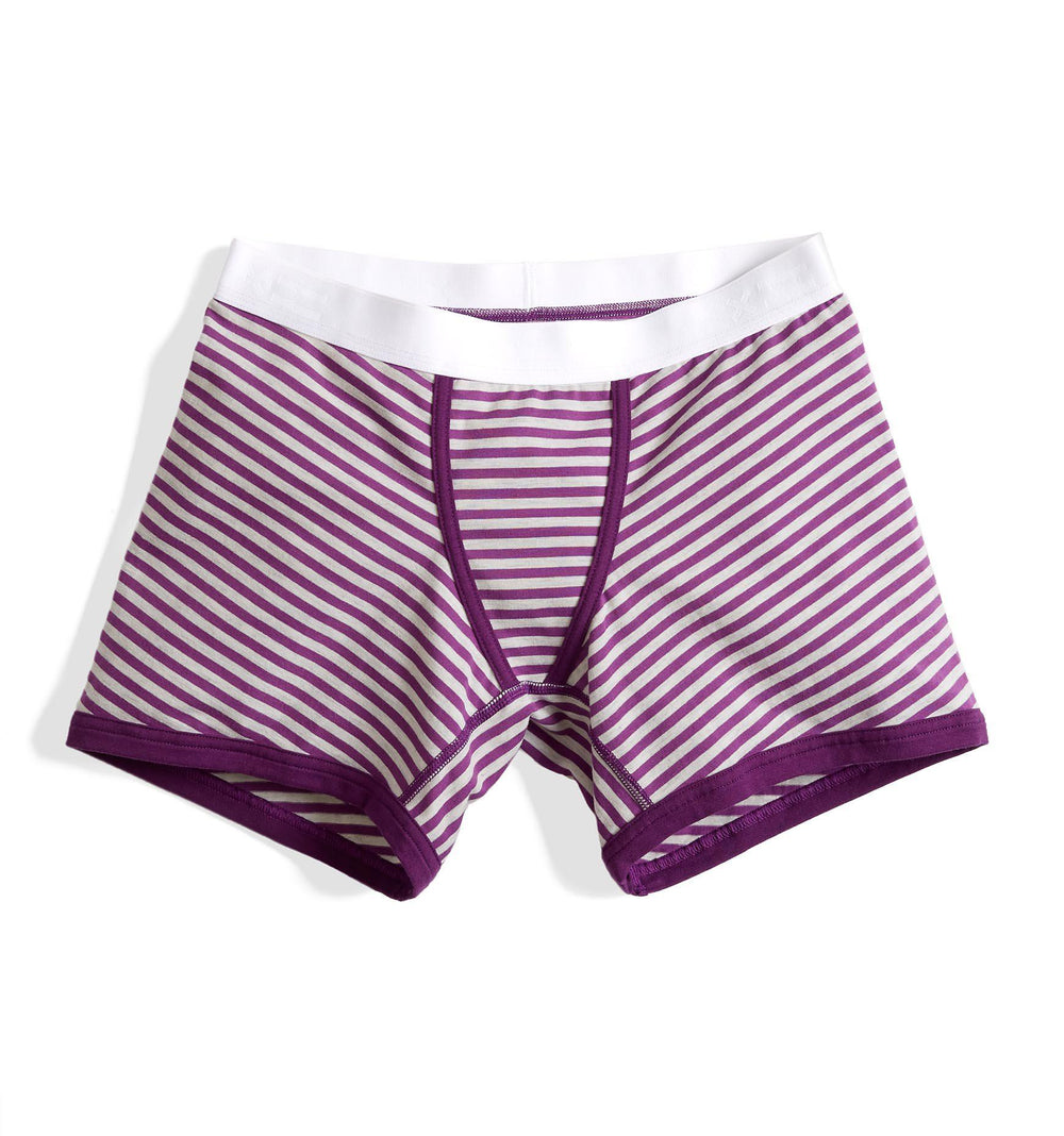 "4.5"" Trunks LC - Purple & Heather Grey Stripes"