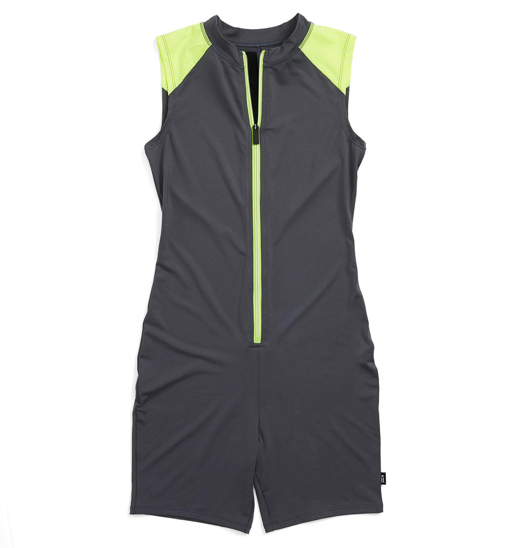 "Swim Sleeveless 6"" Unisuit - Grey with Neon Yellow"
