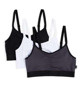 Exclusive: 3 Pack Adaptable Ruched Bralette - Gridiron-Bra-TomboyX
