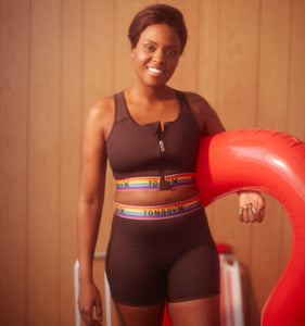 Swim Racerback Zip Top - Black Rainbow-Swim-TomboyX