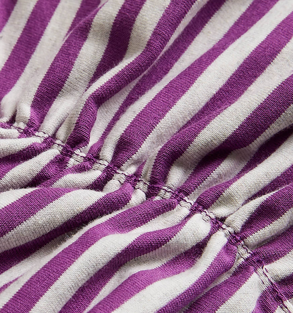 Ruched Bralette - Purple & Heather Grey Stripes-TomboyX