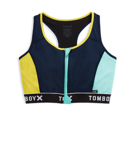Swim Racerback Zip Top - Navy with Turquoise and Yellow-Swim-TomboyX