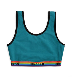 Essentials Soft Bra - Teal Rainbow-Bra-TomboyX