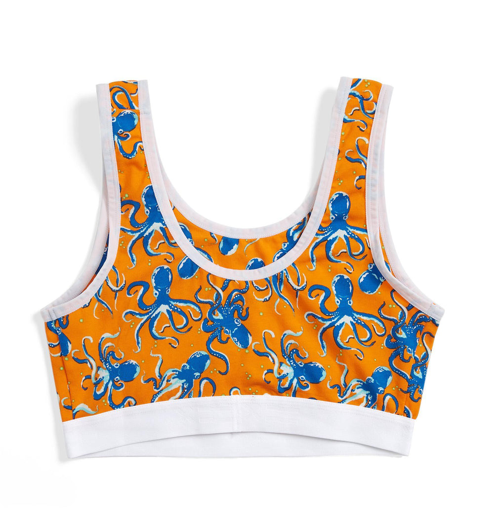 Essentials Soft Bra LC - Orange Octopus Print-Bra-TomboyX