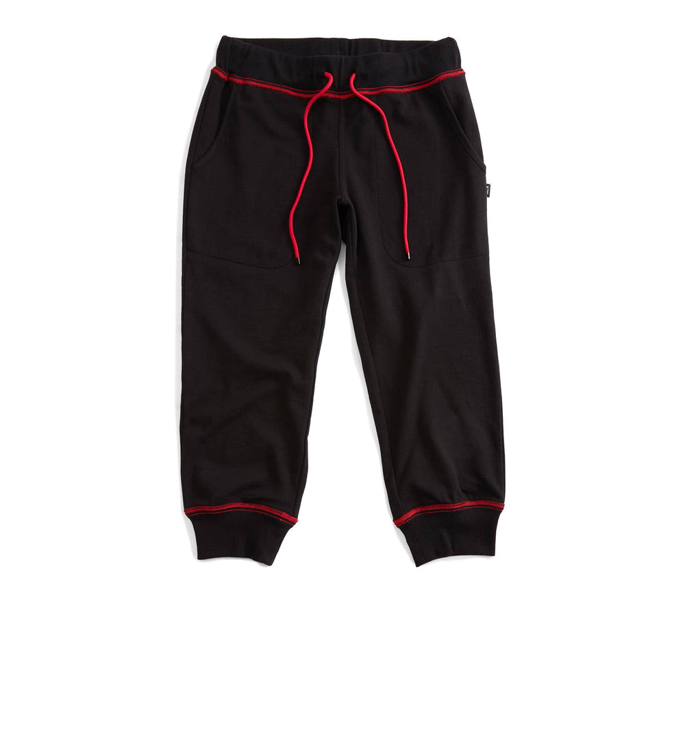 French Terry Cropped Jogger - Black with Red-Loungewear-TomboyX