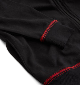 French Terry Full Zip Sweatshirt - Black with Red-Loungewear-TomboyX