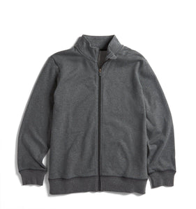 French Terry Full Zip Sweatshirt - Charcoal-Loungewear-TomboyX
