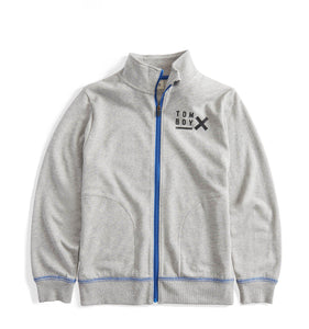 French Terry Full Zip Sweatshirt - TomboyX Heather Grey with Blue-Loungewear-TomboyX