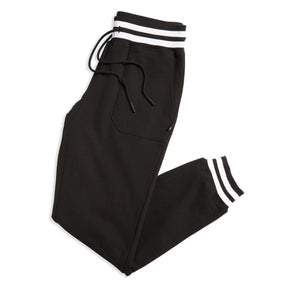 French Terry Jogger - Black with Striped Rib-Loungewear-TomboyX