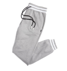 French Terry Jogger - Heather Grey with Striped Rib-Loungewear-TomboyX