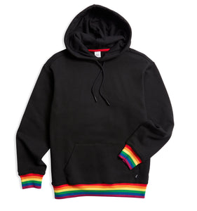 French Terry Pullover Hoodie - Black with Rainbow Rib-Loungewear-TomboyX
