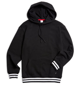 French Terry Pullover Hoodie - Black with Striped Rib-Loungewear-TomboyX
