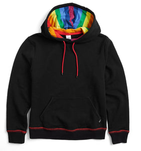 French Terry Pullover Hoodie - Black With Rainbow Stripe-Loungewear-TomboyX