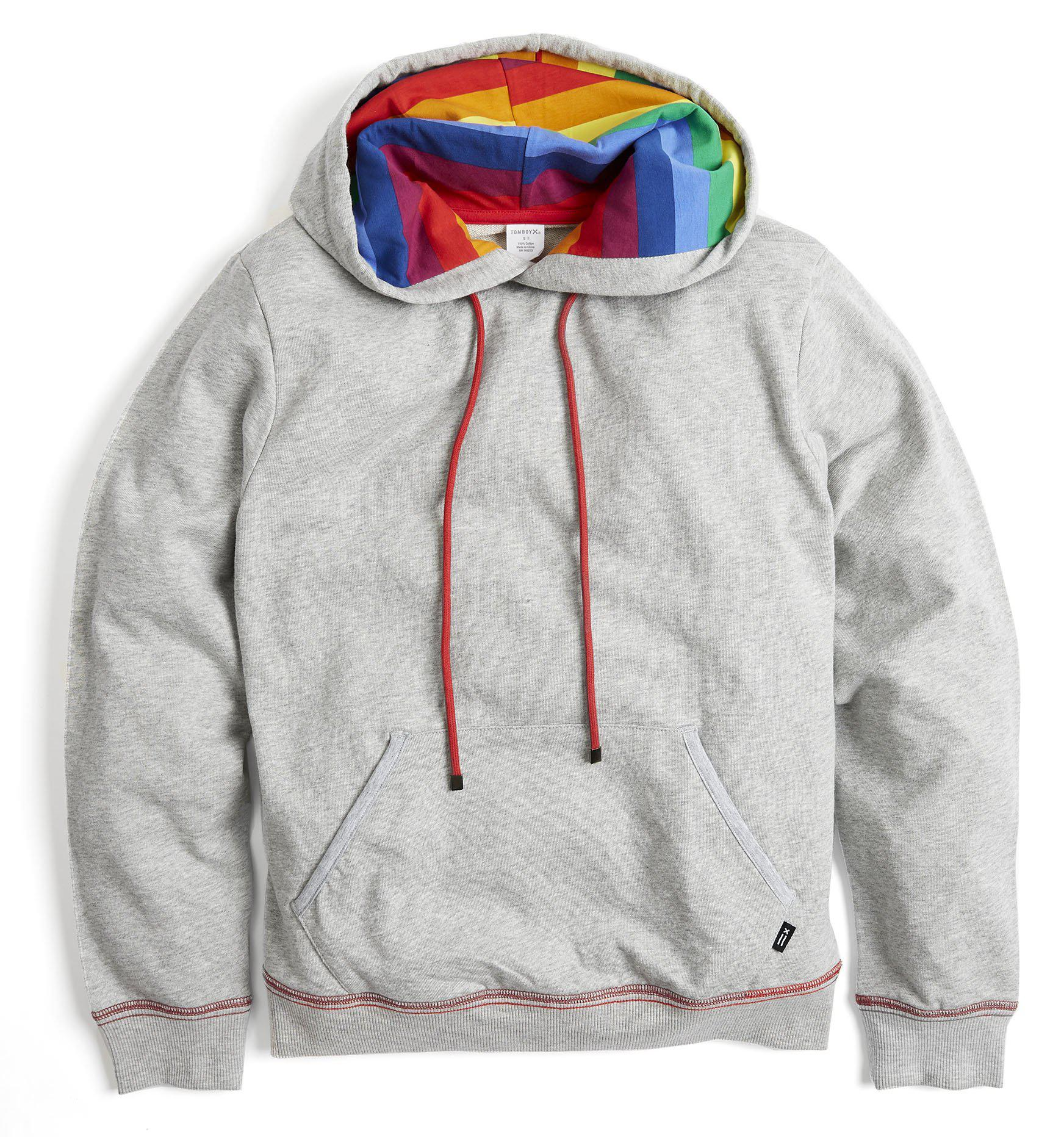new style 2d75d 8b09f French Terry Pullover Hoodie - Heather Grey with Rainbow Stripe
