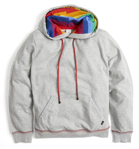 French Terry Pullover Hoodie - Heather Grey with Rainbow Stripe-Loungewear-TomboyX