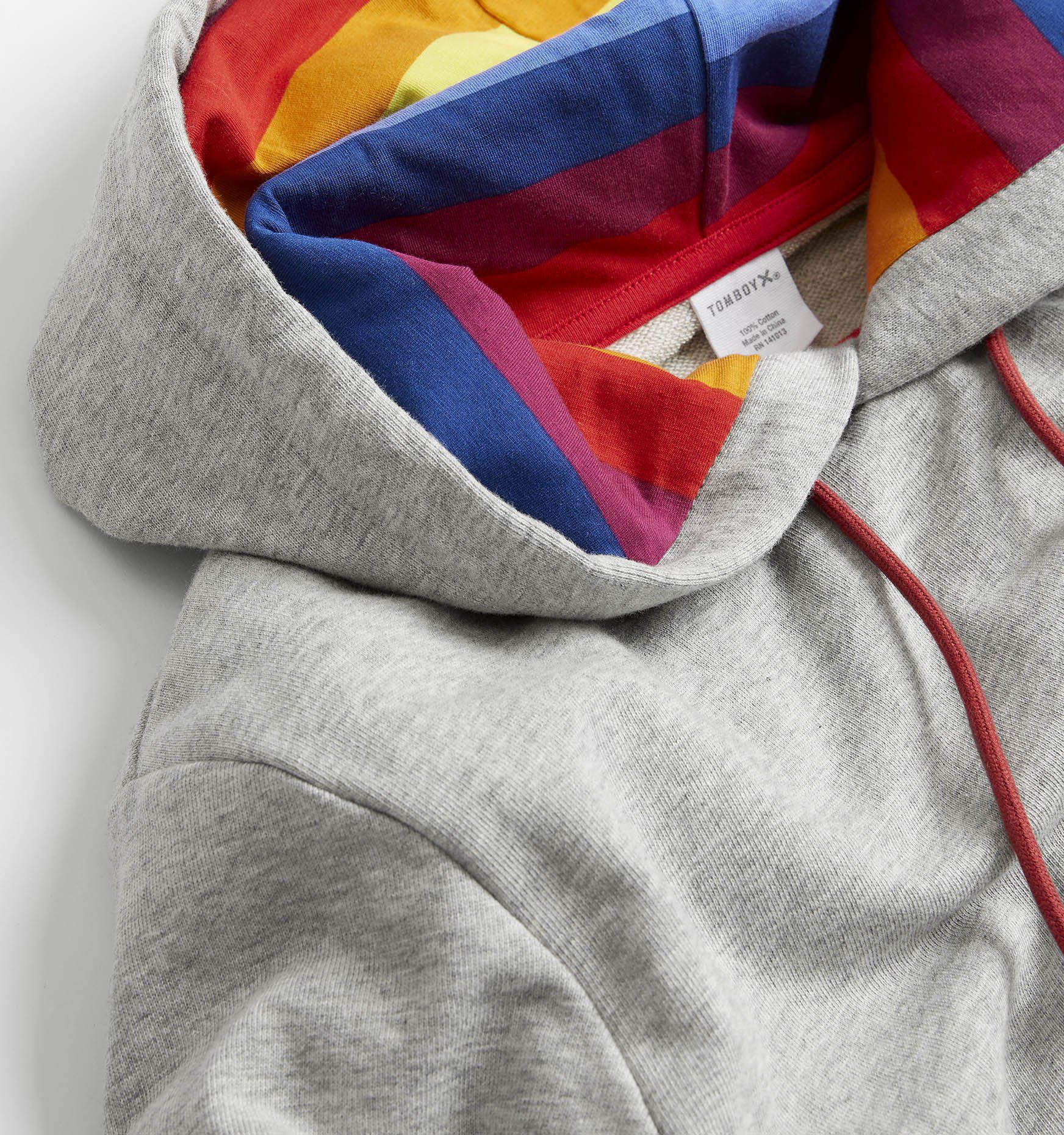 e70da68705 French Terry Pullover Hoodie - Heather Grey with Rainbow Stripe-TomboyX