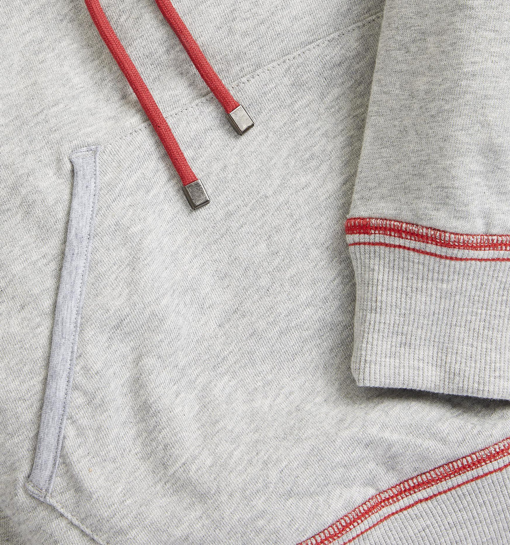 French Terry Pullover Hoodie - Heather Grey with Rainbow Stripe-TomboyX