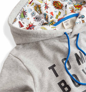 French Terry Pullover Hoodie - TomboyX Grey with Kapow!-Loungewear-TomboyX