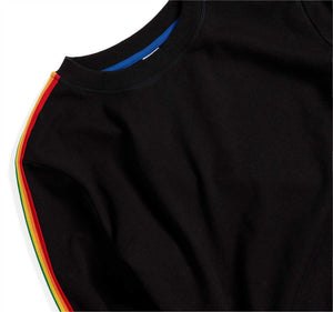 French Terry Relaxed Crew Neck Sweatshirt - Black with Rainbow-Loungewear-TomboyX