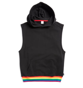 French Terry Sleeveless Hoodie - Black with Rainbow Rib-Loungewear-TomboyX