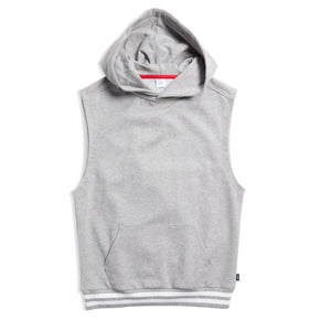 French Terry Sleeveless Hoodie - Heather Grey with Striped Rib-Loungewear-TomboyX